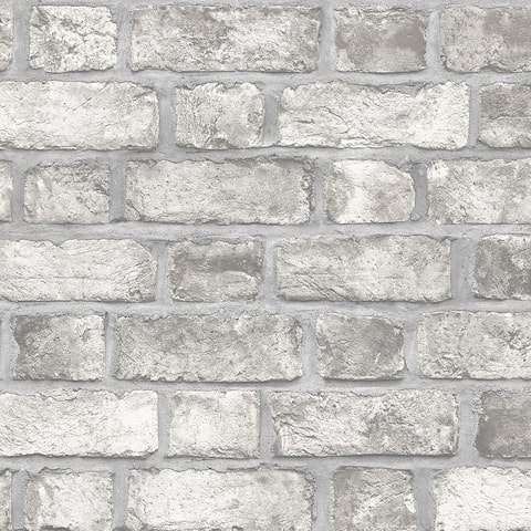 Farmhouse Brick Wallpaper, Brick in Grey, Dove, Charcoal, Black