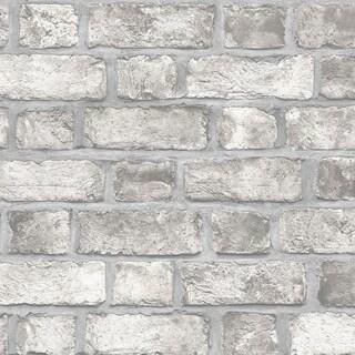 Farmhouse Brick Wallpaper, Brick in Grey, Dove, Charcoal, Black