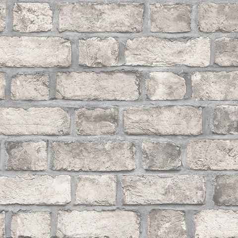 Farmhouse Brick Wallpaper, Brick in Taupe, Black, Dove, Clay
