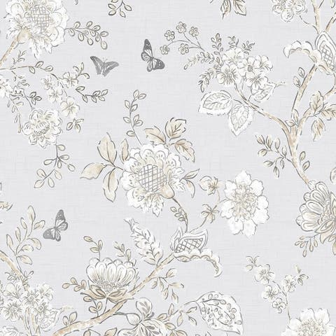 Butterfly Toile Wallpaper, Floral in Grey, Beige, Dove