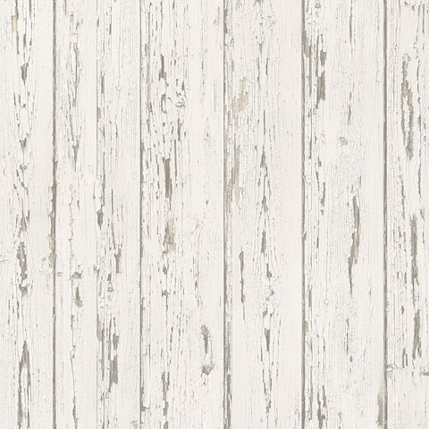 Shiplap Wallpaper, Wood in Beige, Antique White, Cottage White, Light Cream