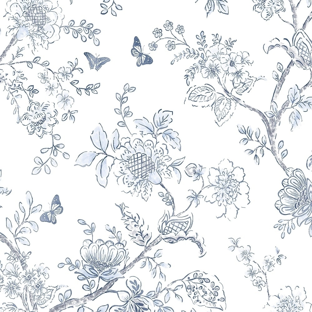 Shop Butterfly Toile Wallpaper Floral In Light Blue Blue Navy