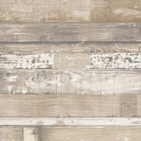 Beachwood Wallpaper, Wood in Brown, Beige