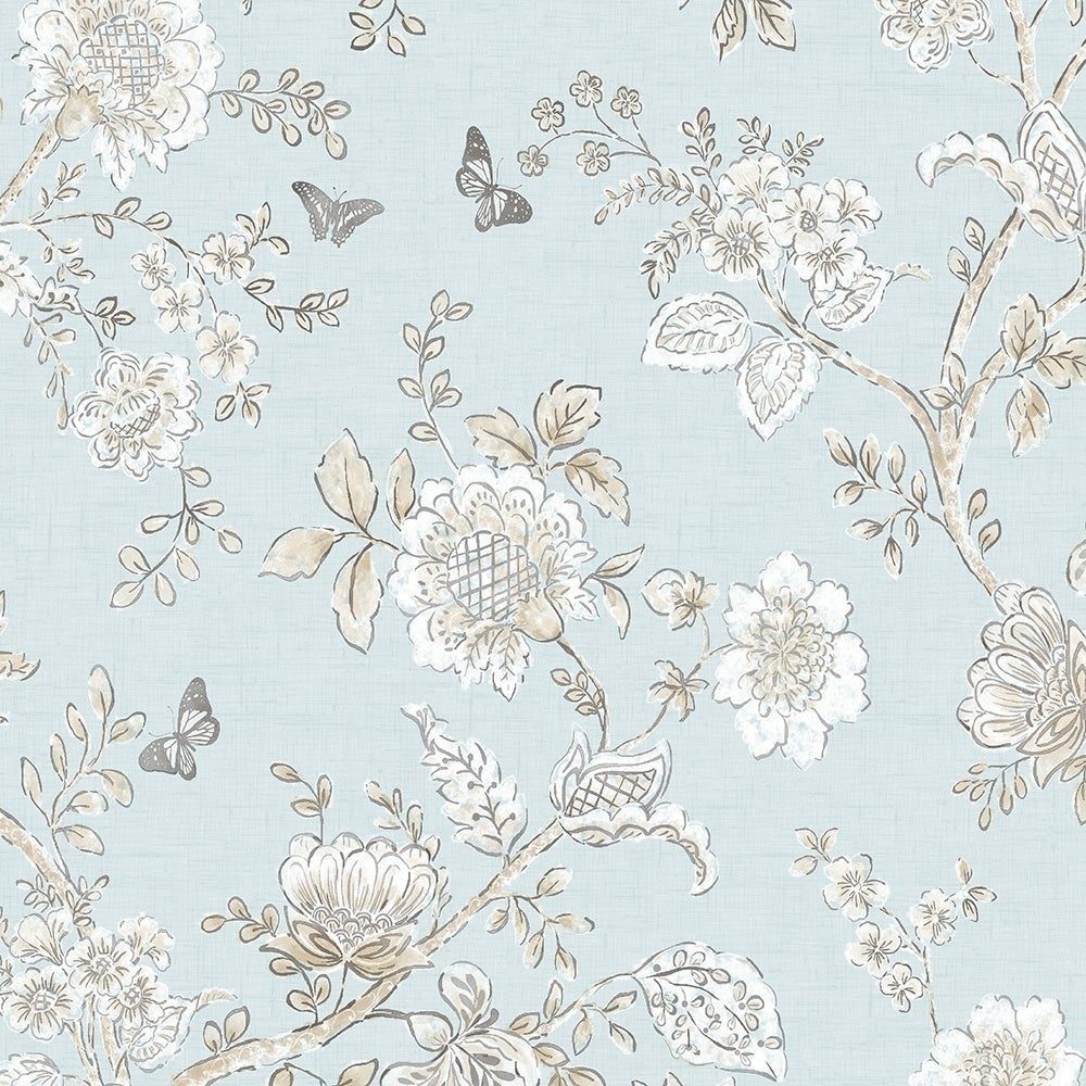 Shop Butterfly Toile Wallpaper Floral In Blue Beige French Blue