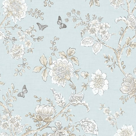 Butterfly Toile Wallpaper, Floral in Blue, Beige, French Blue, Light Blue