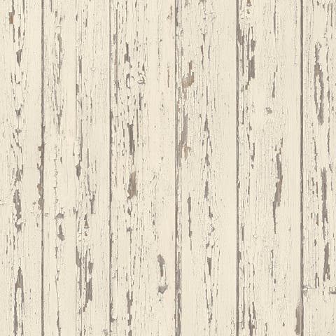 Shiplap Wallpaper, Wood in Cream, French Vanilla, Brown