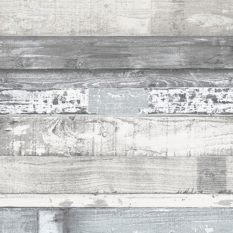 Beachwood Wallpaper, Wood in White, Blue, Grey, Dove