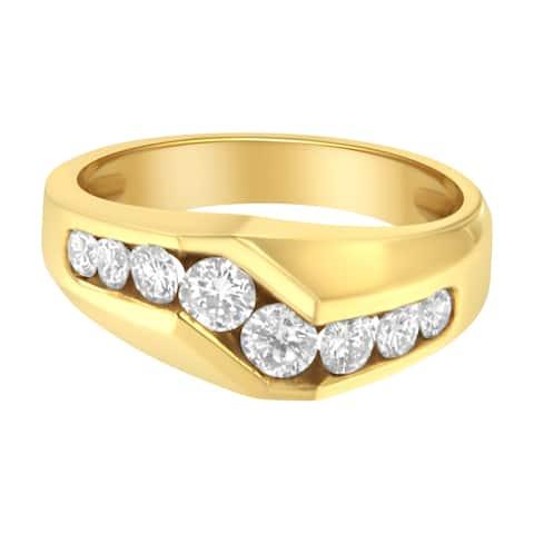 14K Yellow Gold Men's 1ct TDW Round Cut Diamond Ring(H-I,SI2-I1)