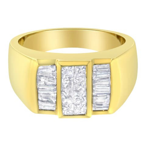 14K Yellow Gold 1 5/8 ct.TDW Diamond Men's Ring Band (H-I, I1-I2)