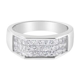 14k White Gold 1 3 4 Ct TDW Diamond Men S Cluster Ring Band G H VS2 SI1