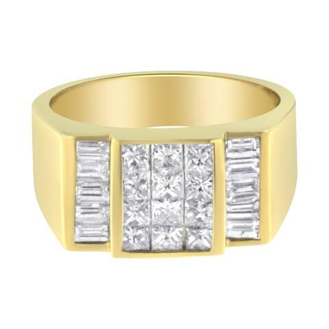 14K Yellow Gold 2 1/5 ct. TDW Diamond Men's Ring Band(G-H, VS1-VS2)