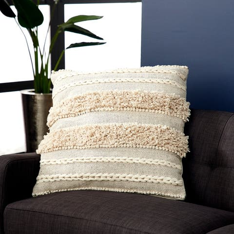 Decorative Throw Pillow w/ Striped Braid Design & Yarn Tassels