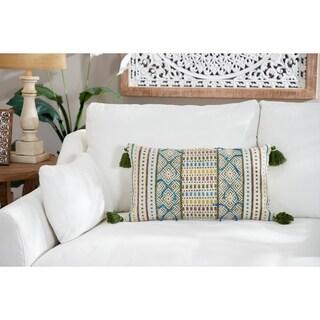 """Decorative Throw Pillow w/ Boho Pattern & Tassels 24"""" x 14"""""""