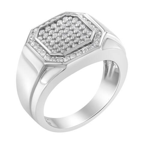 Men's 14K White Gold Pentagon Shaped 1ct TDW Diamond Ring Band (H-I, SI2-I1)