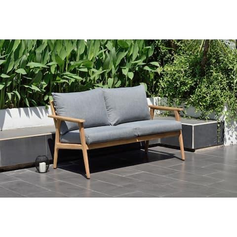 Nordic Patio Teak Wood Sofa. 100% Teak Wood and Olefin Cushions