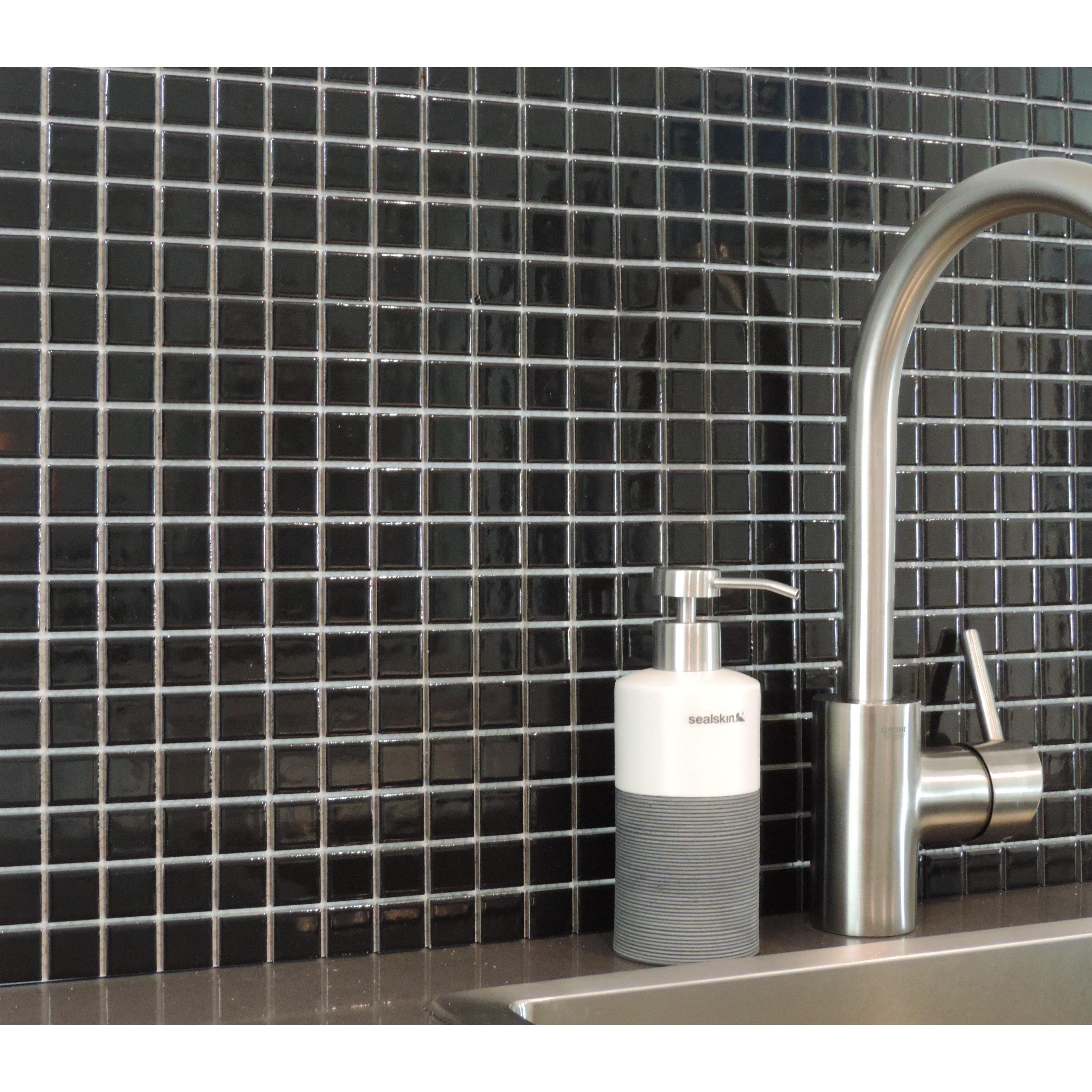 Porcelain Premium Quality 2x2 Black Square Matte Mosaic Tile Box of 5 Pcs Great For Bathroom Tile Wall Tile and Kitchen Backsplash Tiles on 12x12 Sheet - Free Shipping Floor Tile