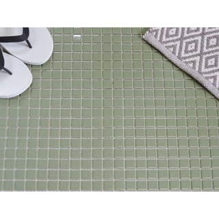 "Glazed Porcelain Mosaic Tile Sheet  Barcelona 1""x1"" Square Glossy Olive Green"