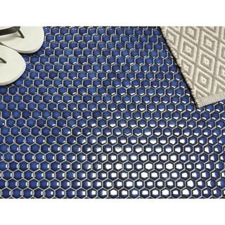 "Glazed Porcelain Mosaic Tile Sheet  Barcelona 1""x1"" Hexagon Glossy Cobalt Blue"