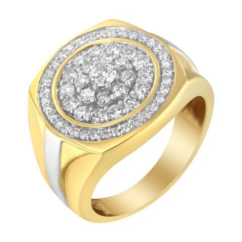 Men's 14K Yellow Gold 1 1/2ct TDW Diamond Signet Ring Band (H-I, SI2-I1)
