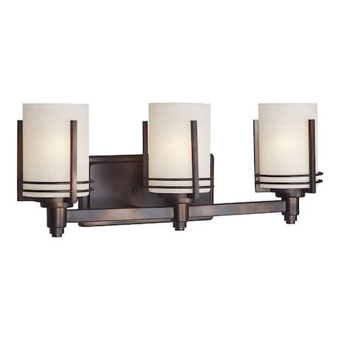 3-Light Antique Bronze Vanity Light with Umber Linen Glass
