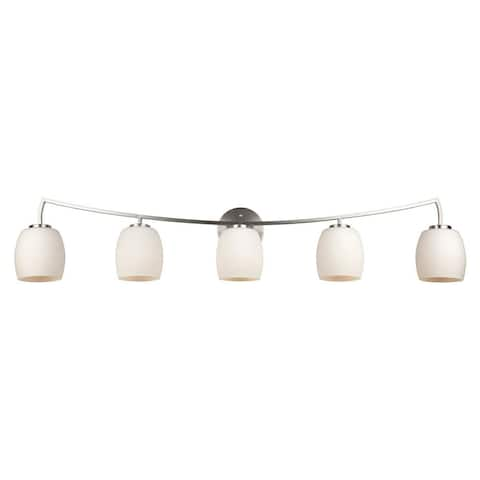 5-Light Brushed Nickel Vanity Light with White Glass