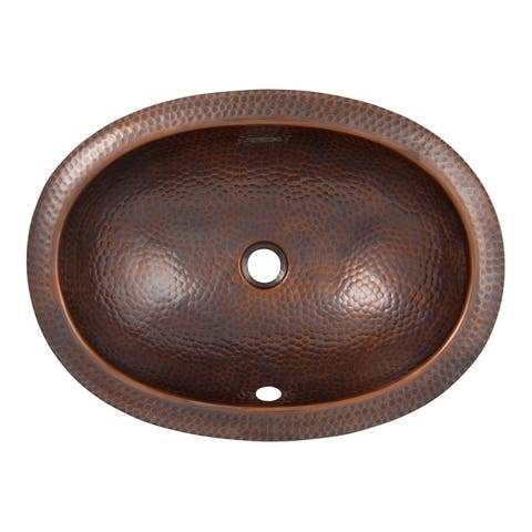 Hammered Copper Oval Drop-In Lavatory Sink by The Copper Factory