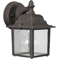 1-Light Painted Rust Outdoor Wall Lantern with Clear Glass Panels