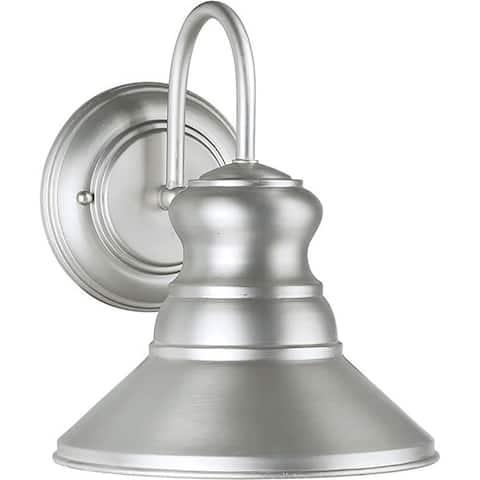 1-Light Brushed Nickel Outdoor Wall Lantern Dark Sky Compliant