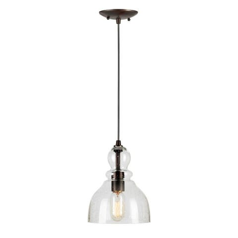 1-Light Antique Bronze Mini Pendant with Clear Seeded Glass