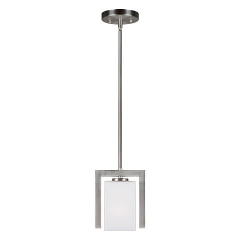 Brushed Nickel Mini Pendant with Square Satin Etched Glass