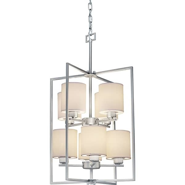 8-Light Brushed Nickel Bowl Pendant with White Color Fabric Shade. Opens flyout.