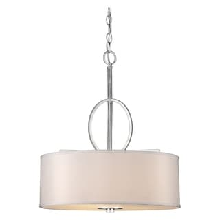 Link to 4-Light Brushed Nickel Bowl Pendant with Fabric Shade Similar Items in Pendant Lights