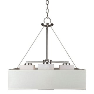 Link to 4-Light Brushed Nickel Square Pendant with Fabric Shade and Satin Opal Glass Similar Items in Pendant Lights