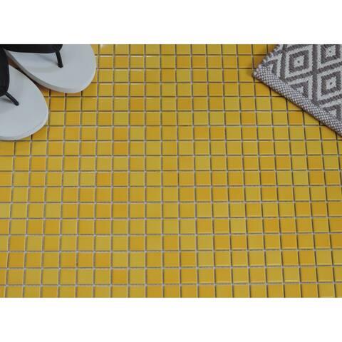 "Glazed Porcelain Mosaic Tile Sheet Barcelona 1""x1"" Square Glossy Flamed Yellow"