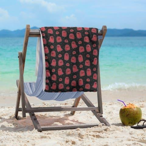 Porch & Den Hibbard Black Background Ghosts Pattern Beach Towel - 36 x 72
