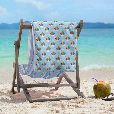 Argyle Rainbow Pattern Beach Towel - 36 x 72
