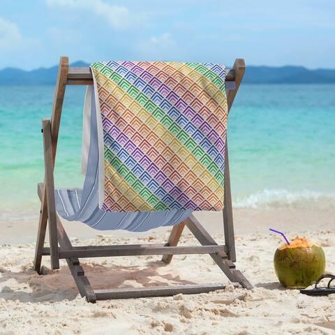 Geometric Ombre Stripe Pattern Beach Towel - 36 x 72