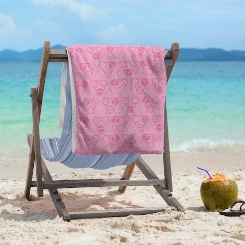 Monochrome Circles & Waves Beach Towel - 36 x 72