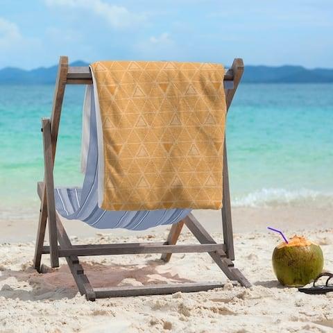 Pastel Monochrome Hand Drawn Triangles Beach Towel - 36 x 72