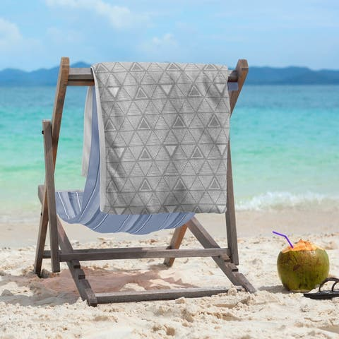 Classic Hand Drawn Triangles Beach Towel - 36 x 72