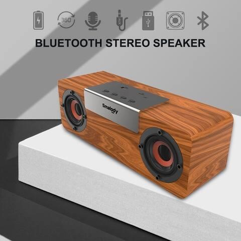 Bluetooth Speaker Portable Wooden Wireless Speakers Stereo Mini Subwoofer TF Slot FM Radio TWS Function Smart 1 for 2