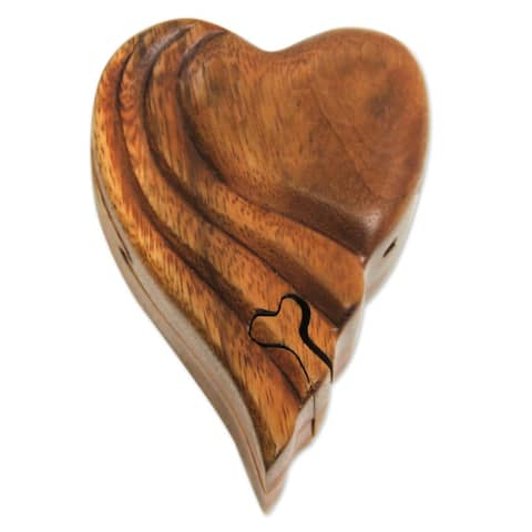 Handmade Flying Heart Wood Puzzle Box (Indonesia)
