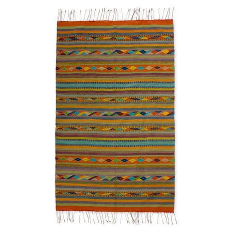Handmade Living Colors Zapotec Wool Rug (Mexico) - 6' x 7'