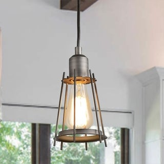 """Link to The Gray Barn Windy Bracken 1-light Metal Cage Pendant Light - D5.1""""x H9.4""""   (As Is Item) Similar Items in As Is"""