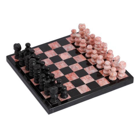 Handmade Black and Pink Challenge Small Marble Chess Set (Mexico)