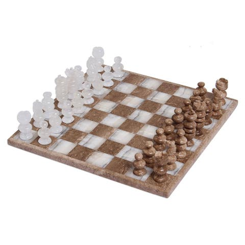 Handmade Natures Challenge Onyx and Marble Chess Set (Mexico)
