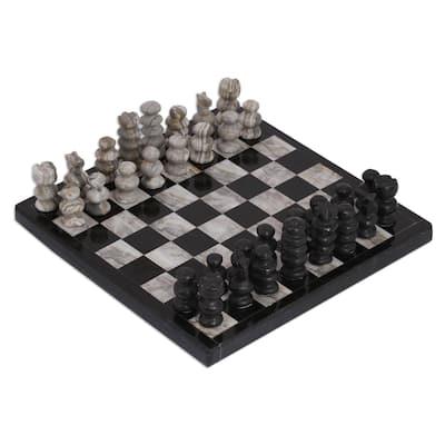 NOVICA Handmade Black and Grey Challenge Marble Chess Set (Mexico)