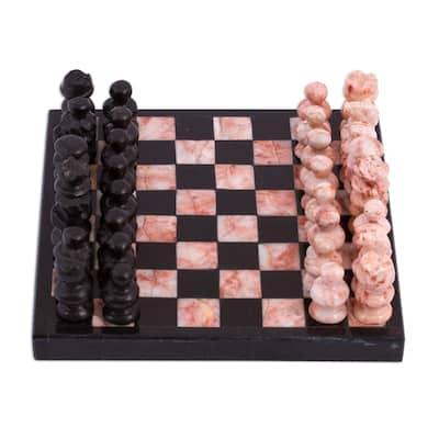 NOVICA Handmade Black And Pink Challenge Marble Mini Chess Set (Mexico)
