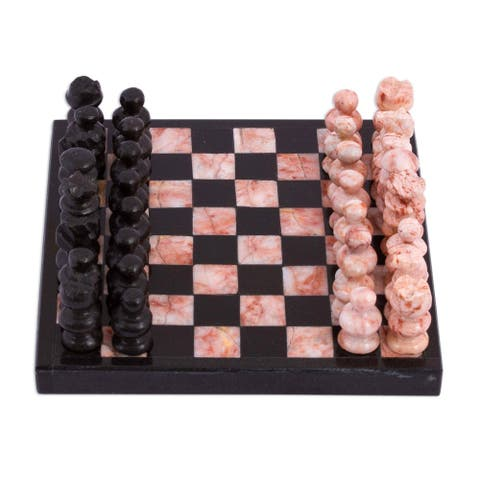Handmade Black and Pink Challenge Marble Mini Chess Set (Mexico)