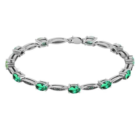 Sterling Silver with Green Emerald and Genuine Green Diamond Bracelet-7.25""